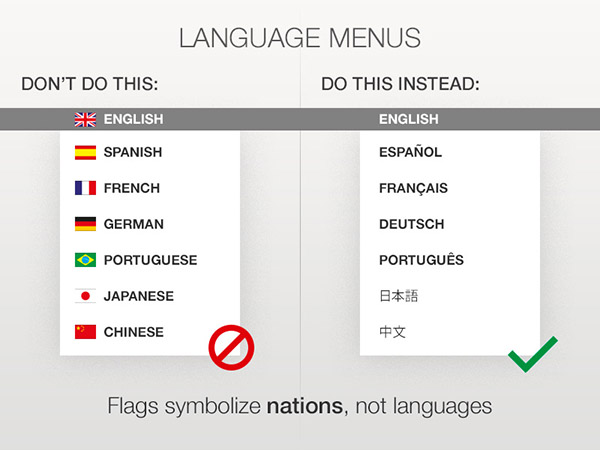 Flags symbolize nations, not languages